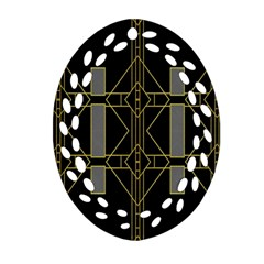 Simple Art Deco Style Art Pattern Oval Filigree Ornament (two Sides)
