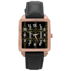 Simple Art Deco Style Art Pattern Rose Gold Leather Watch