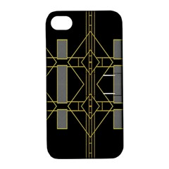 Simple Art Deco Style Art Pattern Apple Iphone 4/4s Hardshell Case With Stand