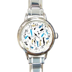 Abstract Image Image Of Multiple Colors Round Italian Charm Watch