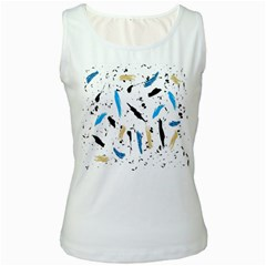 Abstract Image Image Of Multiple Colors Women s White Tank Top
