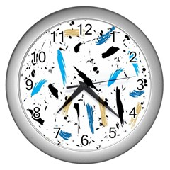 Abstract Image Image Of Multiple Colors Wall Clocks (Silver)