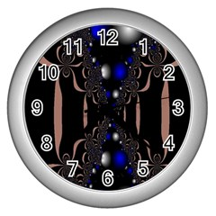 An Interesting Mix Of Blue And Other Colours Balls Wall Clocks (silver)