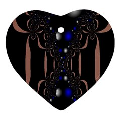 An Interesting Mix Of Blue And Other Colours Balls Heart Ornament (two Sides)