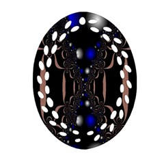 An Interesting Mix Of Blue And Other Colours Balls Oval Filigree Ornament (two Sides)
