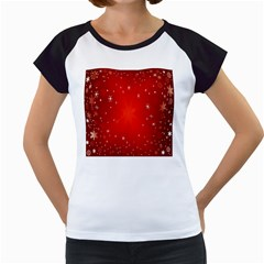 Red Holiday Background Red Abstract With Star Women s Cap Sleeve T