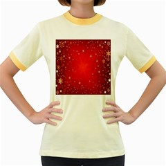 Red Holiday Background Red Abstract With Star Women s Fitted Ringer T-Shirts