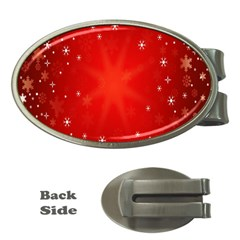 Red Holiday Background Red Abstract With Star Money Clips (oval)