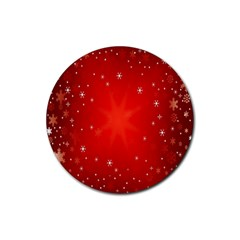 Red Holiday Background Red Abstract With Star Rubber Round Coaster (4 Pack)
