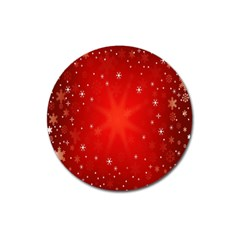 Red Holiday Background Red Abstract With Star Magnet 3  (round)
