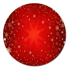 Red Holiday Background Red Abstract With Star Magnet 5  (round)