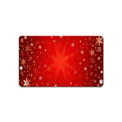 Red Holiday Background Red Abstract With Star Magnet (Name Card)