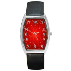 Red Holiday Background Red Abstract With Star Barrel Style Metal Watch