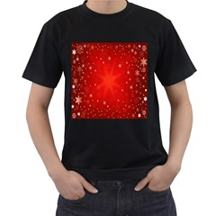 Red Holiday Background Red Abstract With Star Men s T-Shirt (Black) (Two Sided)