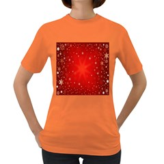 Red Holiday Background Red Abstract With Star Women s Dark T Shirt