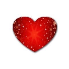 Red Holiday Background Red Abstract With Star Rubber Coaster (Heart)
