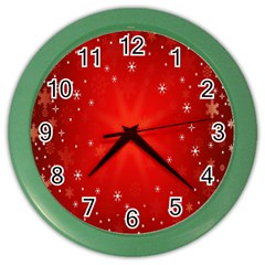 Red Holiday Background Red Abstract With Star Color Wall Clocks
