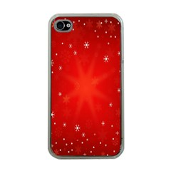 Red Holiday Background Red Abstract With Star Apple iPhone 4 Case (Clear)