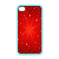 Red Holiday Background Red Abstract With Star Apple iPhone 4 Case (Color)