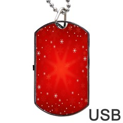 Red Holiday Background Red Abstract With Star Dog Tag Usb Flash (two Sides)