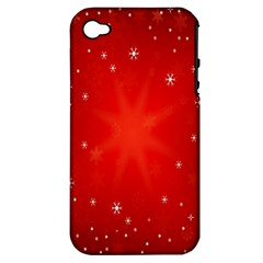 Red Holiday Background Red Abstract With Star Apple Iphone 4/4s Hardshell Case (pc+silicone)