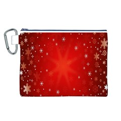 Red Holiday Background Red Abstract With Star Canvas Cosmetic Bag (l)