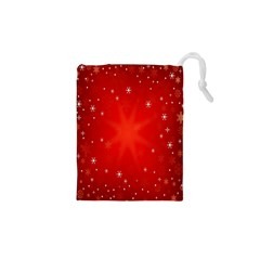 Red Holiday Background Red Abstract With Star Drawstring Pouches (xs)