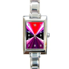 Red And Purple Triangles Abstract Pattern Background Rectangle Italian Charm Watch