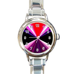 Red And Purple Triangles Abstract Pattern Background Round Italian Charm Watch