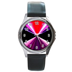 Red And Purple Triangles Abstract Pattern Background Round Metal Watch