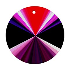 Red And Purple Triangles Abstract Pattern Background Ornament (Round)