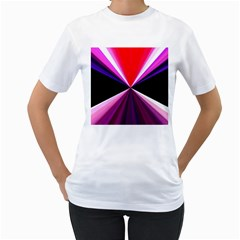 Red And Purple Triangles Abstract Pattern Background Women s T-Shirt (White) (Two Sided)
