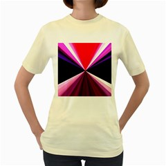 Red And Purple Triangles Abstract Pattern Background Women s Yellow T-Shirt