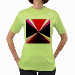 Red And Purple Triangles Abstract Pattern Background Women s Green T-Shirt