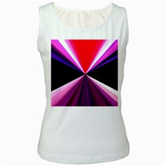 Red And Purple Triangles Abstract Pattern Background Women s White Tank Top
