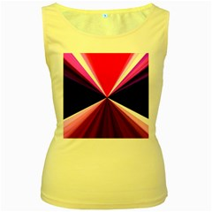 Red And Purple Triangles Abstract Pattern Background Women s Yellow Tank Top