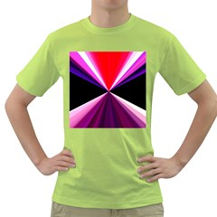 Red And Purple Triangles Abstract Pattern Background Green T-Shirt