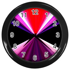 Red And Purple Triangles Abstract Pattern Background Wall Clocks (Black)