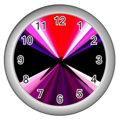 Red And Purple Triangles Abstract Pattern Background Wall Clocks (Silver)