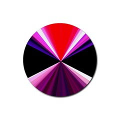 Red And Purple Triangles Abstract Pattern Background Rubber Round Coaster (4 Pack)