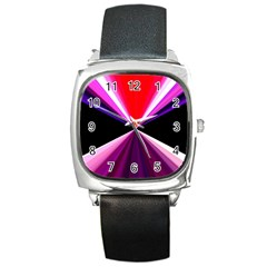 Red And Purple Triangles Abstract Pattern Background Square Metal Watch