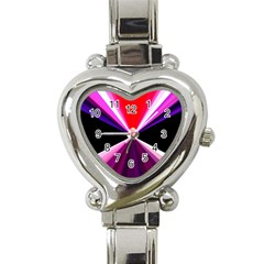 Red And Purple Triangles Abstract Pattern Background Heart Italian Charm Watch