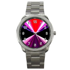 Red And Purple Triangles Abstract Pattern Background Sport Metal Watch