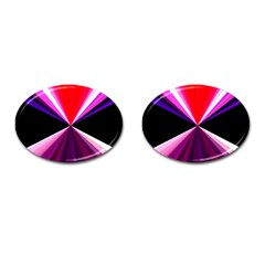 Red And Purple Triangles Abstract Pattern Background Cufflinks (Oval)