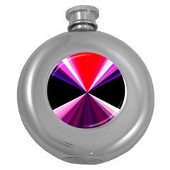 Red And Purple Triangles Abstract Pattern Background Round Hip Flask (5 Oz)
