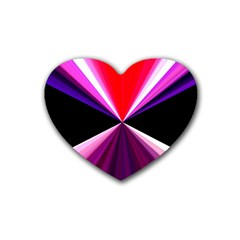 Red And Purple Triangles Abstract Pattern Background Heart Coaster (4 pack)