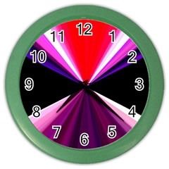 Red And Purple Triangles Abstract Pattern Background Color Wall Clocks