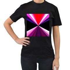Red And Purple Triangles Abstract Pattern Background Women s T Shirt (black)