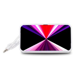 Red And Purple Triangles Abstract Pattern Background Portable Speaker (White)