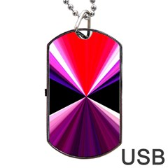 Red And Purple Triangles Abstract Pattern Background Dog Tag USB Flash (Two Sides)